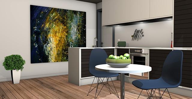 kuchyně, obraz, jídelní stolek